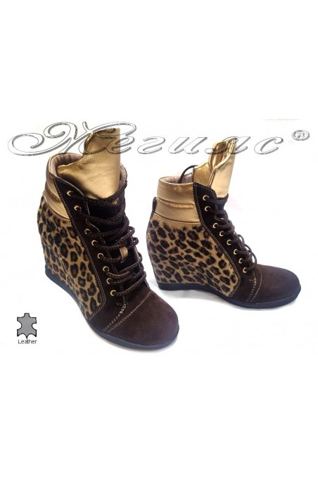 Lady casual boots 2105 leopard platform suede leather
