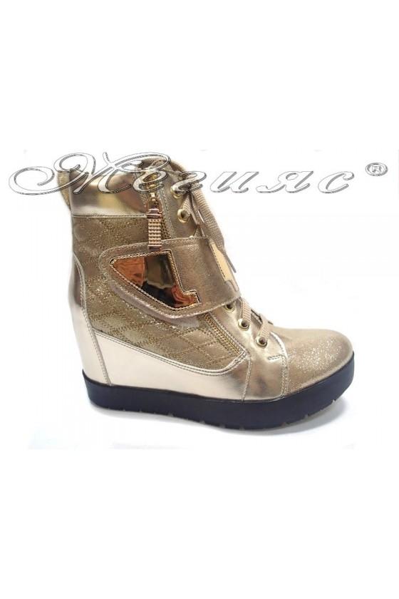 Lady casual boots 505 platform gold pu