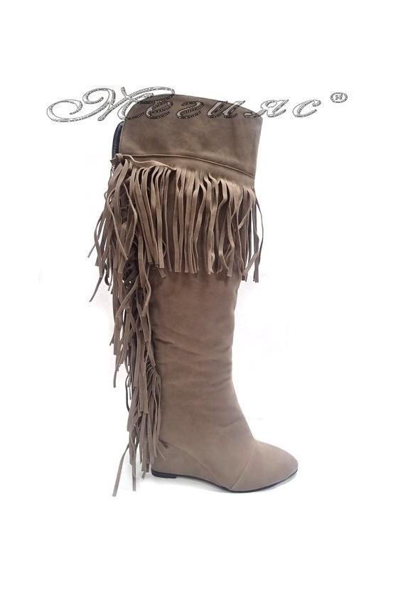 Women elegant  boots 170 beige suede platform fringes