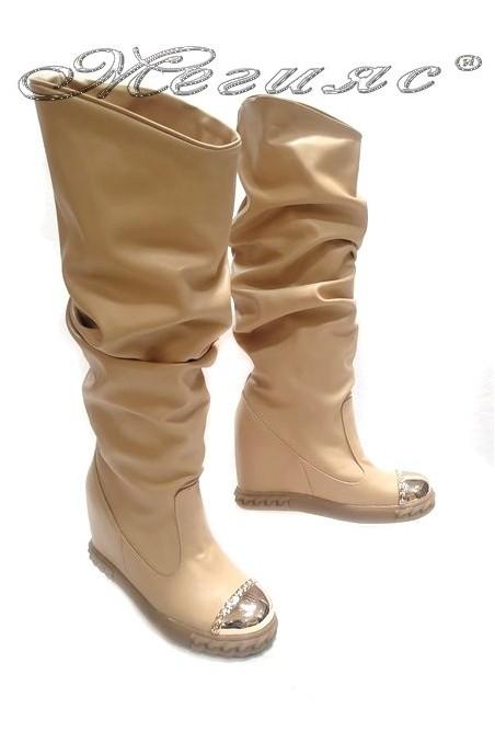 Women casual boots 25-37 beige pu