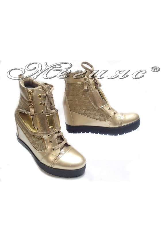 Lady casual boots 505 platform gold pu