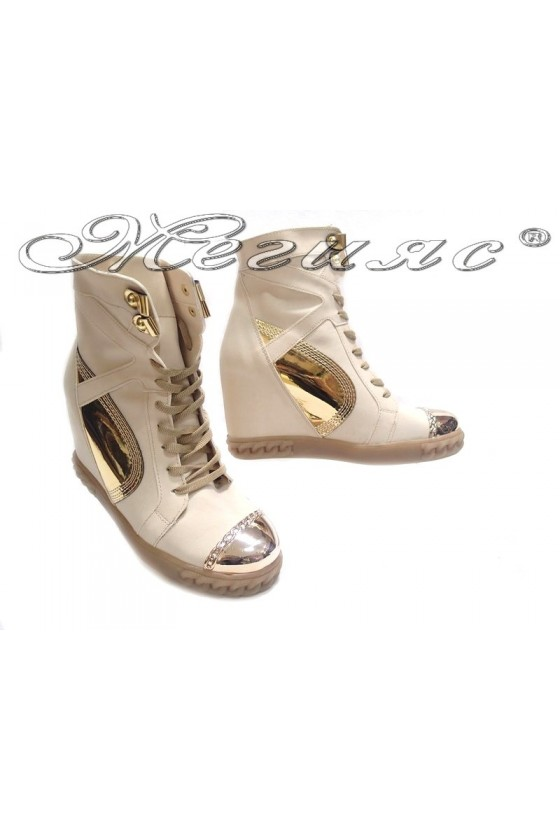 Women ankle casual boots24-37 beige pu