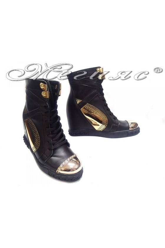 Women ankle  casual boots24-37 black pu
