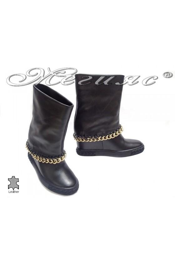 Women bоots 1920-02 platform black leather