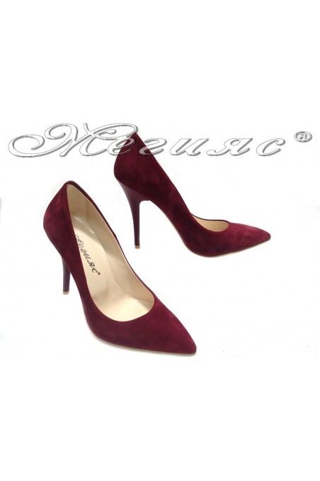 Women elegant shoes 2015 wine suede high heel