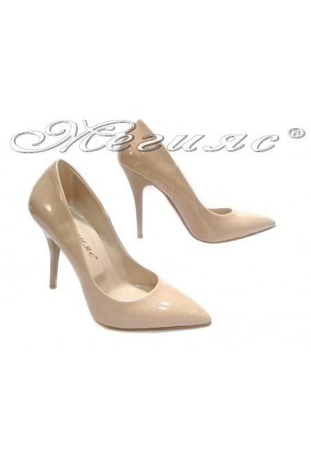 Women shoes 2015 beige patent high heel