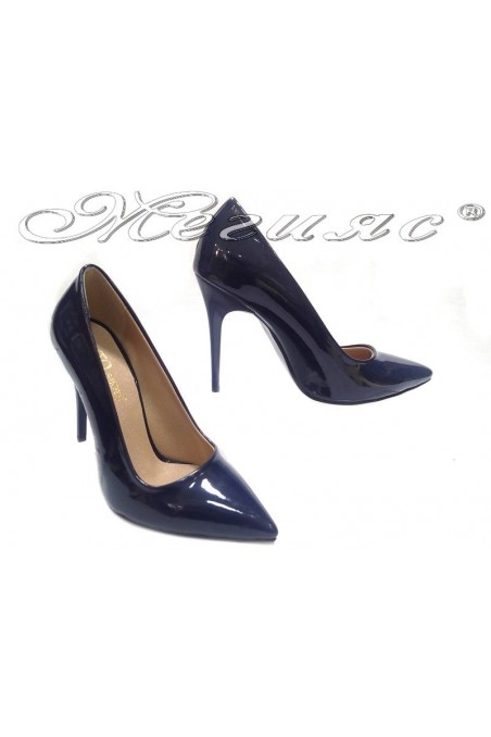 Women elegant shoes 308 blue high heel pu
