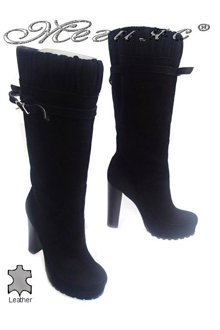 Women elegant boots 5269 high heel black suede leather