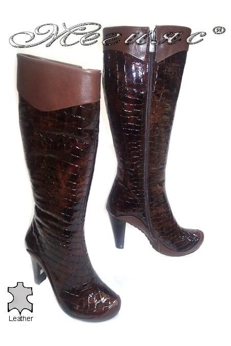 Women elegant boots 216 high heel brown leather