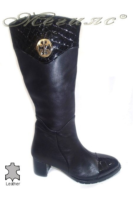 Women elegant boots 375 middle heel black leather
