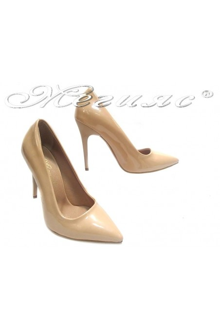 Women elegant shoes 308 beige patent high heel