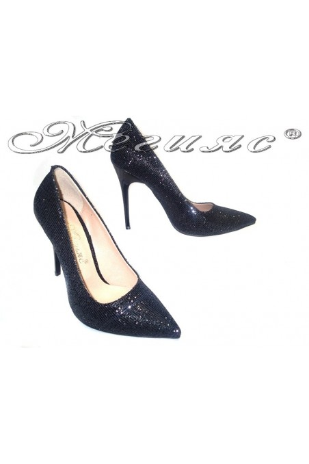 Women elegant shoes 308 black high heel shining