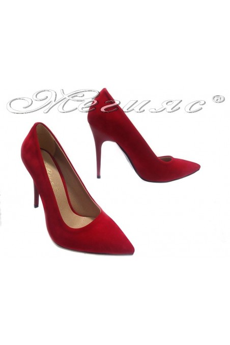 Women elegant shoes 308 red suede high heel