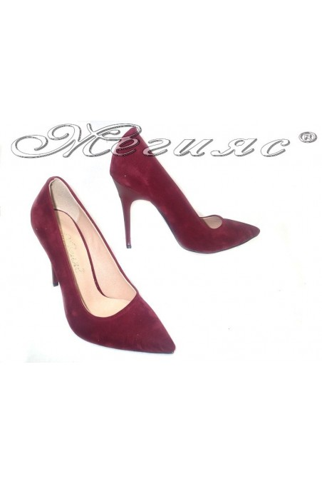 Women elegant shoes 308 wine suede high heel