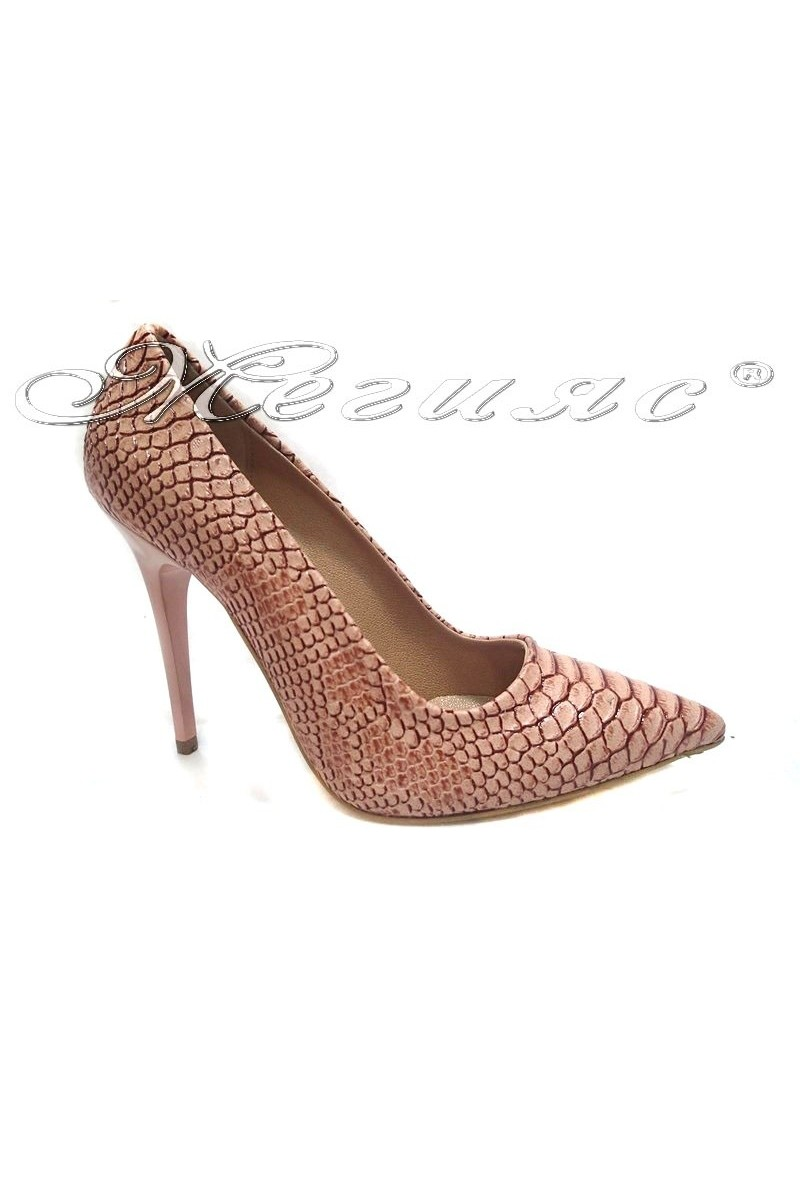 Дамски обувки 308 пудра  кроко
