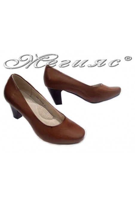 Women shoes 155608 brown middle heel pu