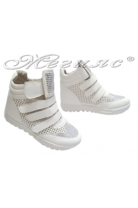 Women sport shoes 155102 white with stones pu