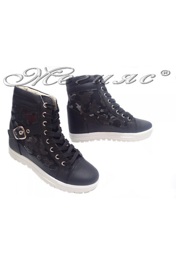 Women sport shoes 155106 black platform pu