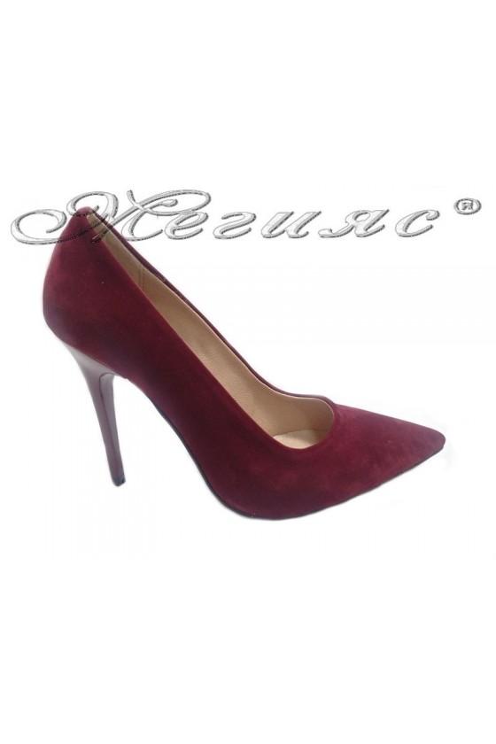 Women elegant  shoes 308 wine suede high heel
