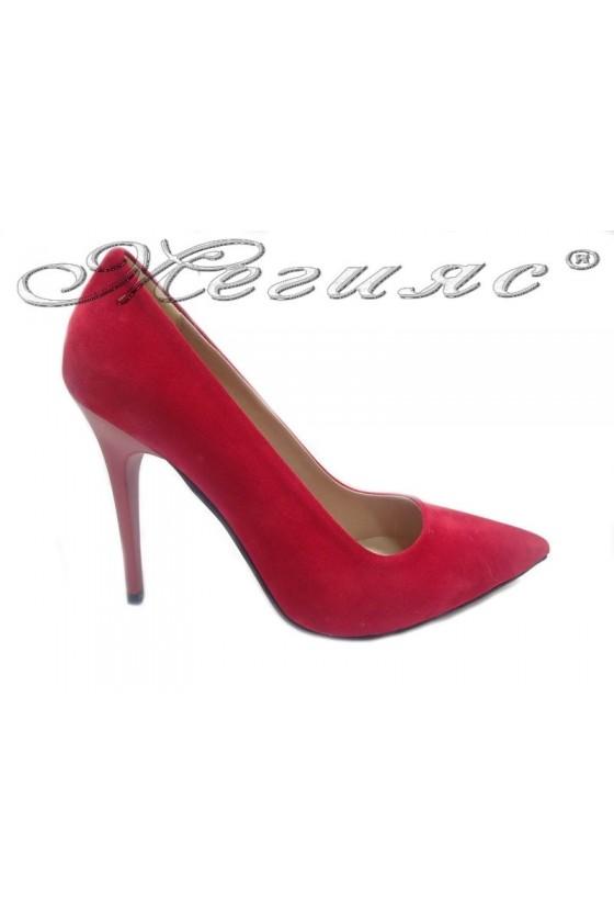 Дамски обувки 308 червен набук елегантни остри висок ток
