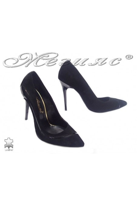 Women elegant shoes 176-43 suede leather black high heel