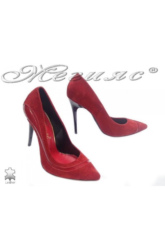 Women elegant  shoes 176-45 red suede leather high heel