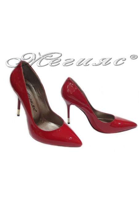 Lady elegant shoes 423 red patent heel