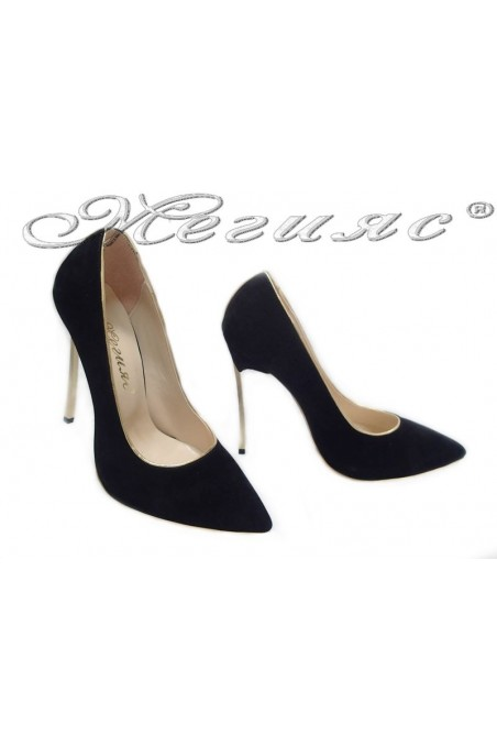 Women elegant shoes 61 black suede high heel