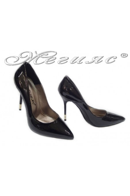 Lady elegant shoes 423 black patent high heel