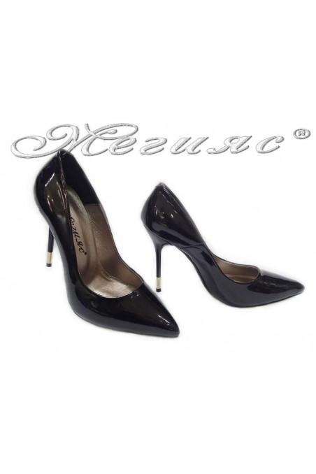 Lady elegant shoes 423 black patent high heel