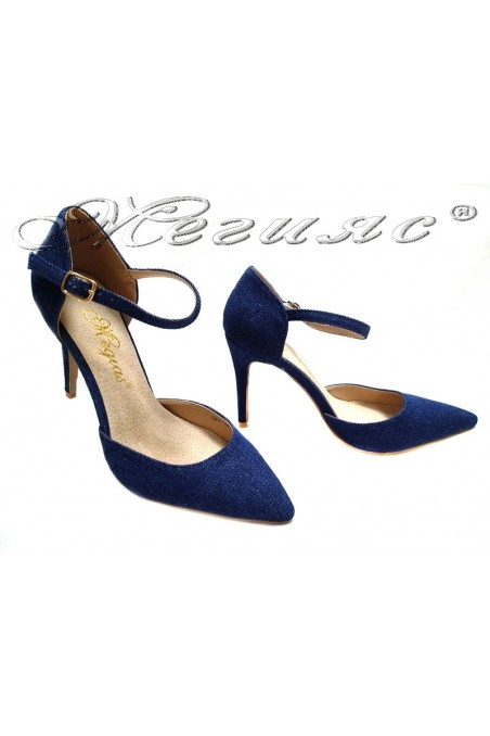 Women elegant shoes 155313 blue jeans middle heel