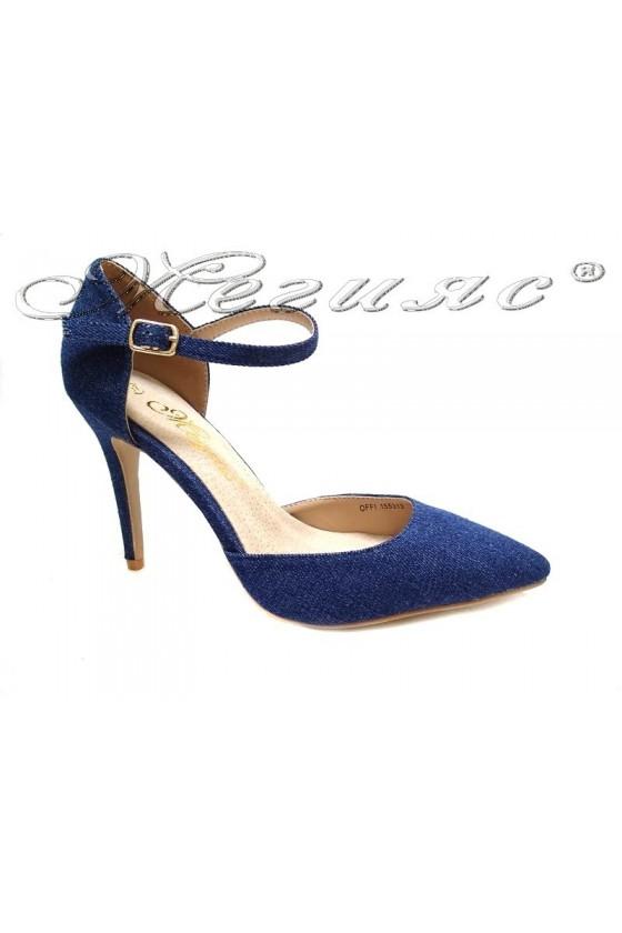 Women elegant  shoes 155313 blue jeans middle heel