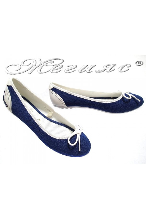 Ladies flat shoes OFFI 155301 white+blue / textiles + pu