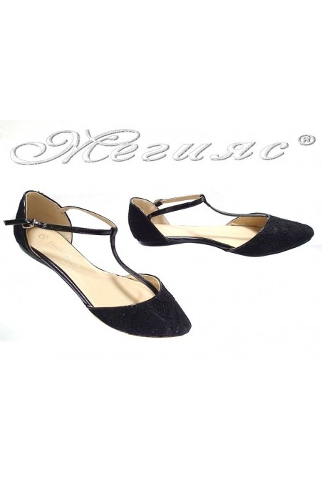 Ladies flat casual shoes TINA 15-225 black textiles+pu