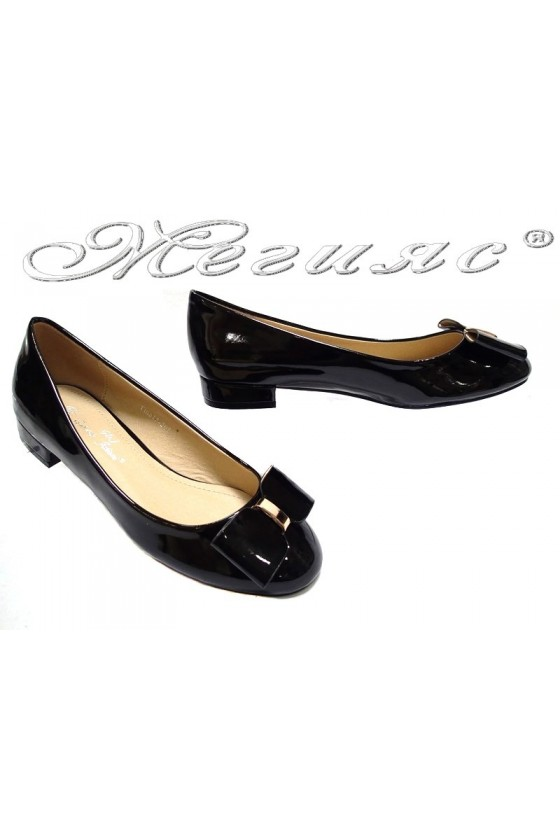 Ladies low heel casual shoes TINA 15-205 black pu+patent