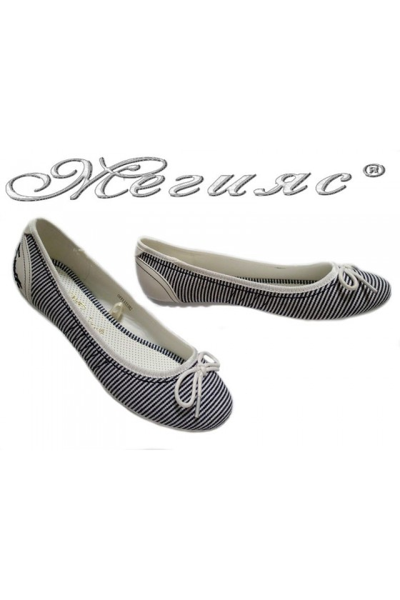 Women flat casual shoes OFFI 155302 black+white stripe textiles