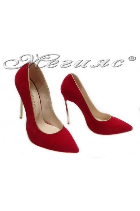 Lady elegant shoes 61 red high heel suede