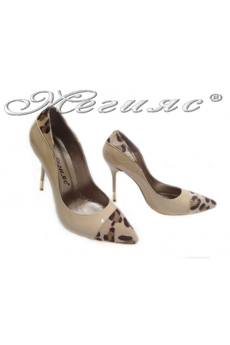 Women elegant shoes 011 beige high heel patent