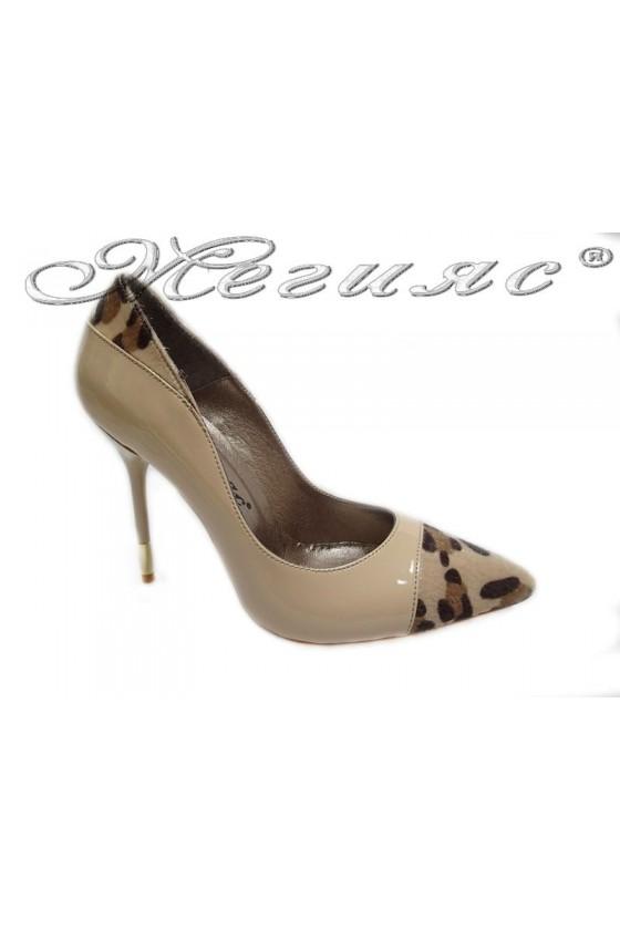 Women elegant  shoes 011 beige high heel patent
