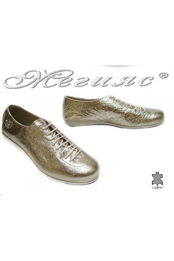 Women sport shoes 3116 gold leather