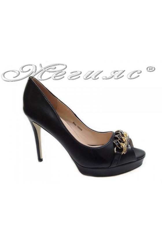 Дамски обувки Ekay 155506 черни елегантни без пръсти висок ток еко кожа