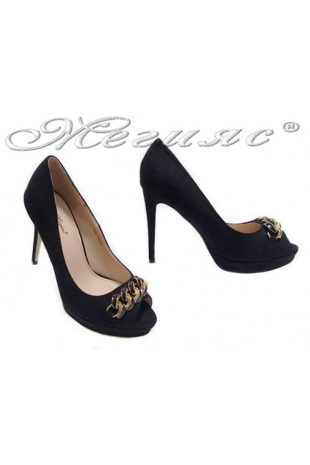 Lady elegant shoes 155505 black high heel suede