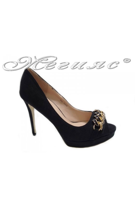 Lady elegant  shoes 155505 black high heel suede