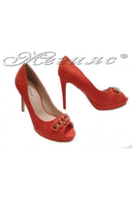 Lady elegant shoes 155505 red high heel pu