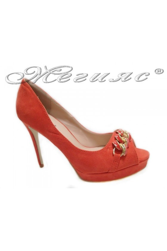 Lady elegant  shoes 155505 red high heel pu