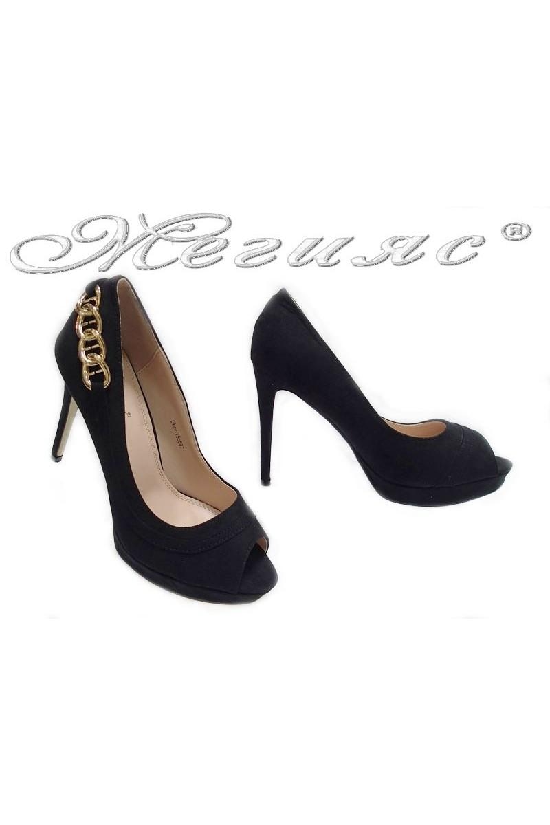 Дамски обувки Ekay 155507 черен набук