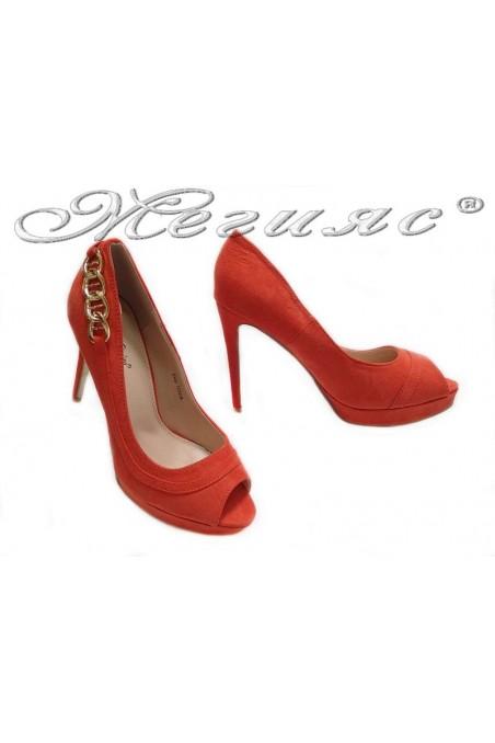 Дамски обувки Ekay 155508 корал елегантни без пръсти висок ток платформа еко кожа