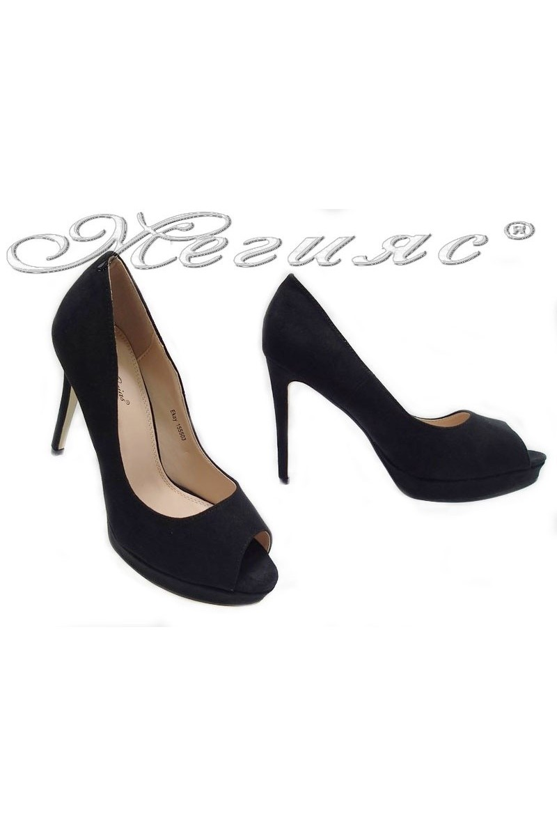 Дамски обувки Ekay 155503 черен набук
