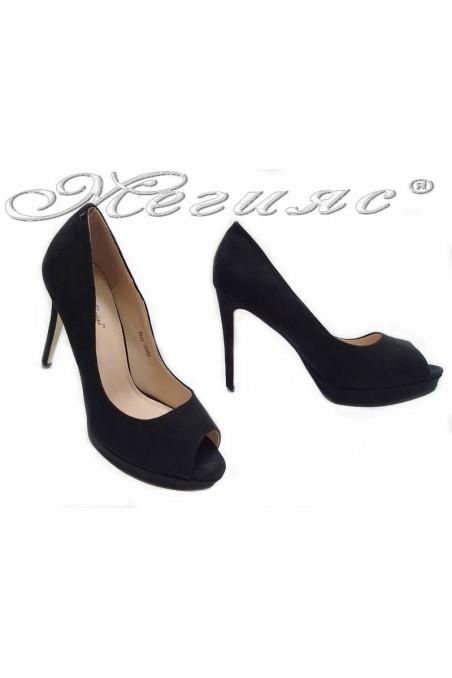 Дамски обувки Ekay 155503 черен набук елегантни без пръсти висок ток платформа