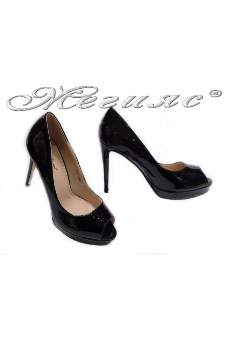 Women elegant shoes 155502 black high heel patent